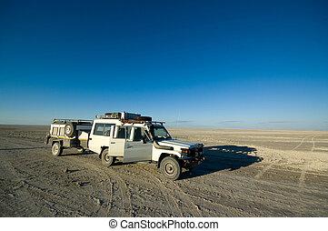 Safari jeep - 4x4 safari jeep traveling through Africa