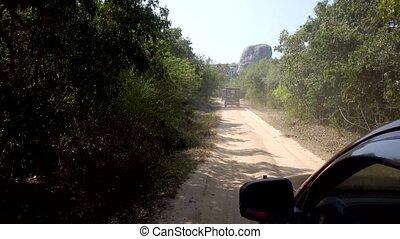 Safari Jeeps Drive on Rough Dirt Road 2.