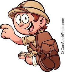 Safari kid - Cartoon safari kid kneeling. Vector clip art...
