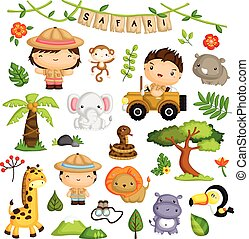 Safari Kids and animal Vector Set