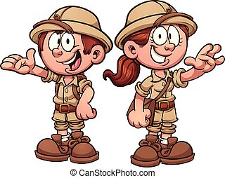 Safari kids - Cartoon safari kids. Vector clip art...
