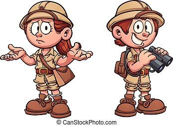 Safari kids - Explorer kids in safari outfits. Vector clip...