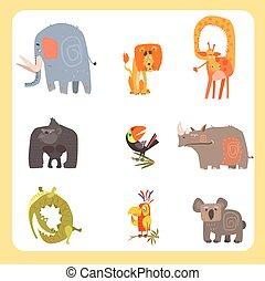safari kreatur, och, fåglar, vektor, illustration, sätta, lägenhet, design