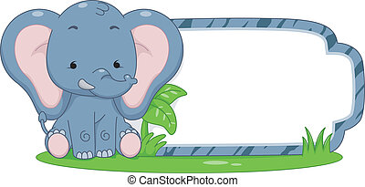 Safari Label Elephant - Illustration of a Ready to Print...