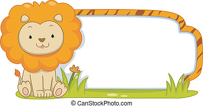 Safari Label Lion - Illustration of a Ready to Print Label ...