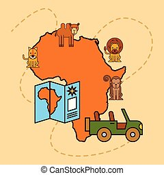 safari, landkarte, afrikas, tiere, tierwelt, jeep, symbol