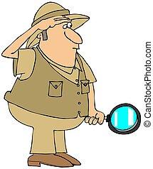 safari, mann vergrößerungsglas