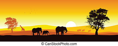 Safari Panorama - Stock vector of African wildlife