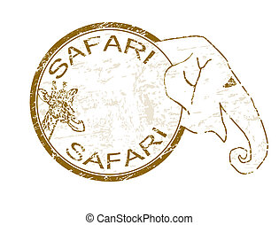 Safari stamp - Grunge rubber stamp with giraffe and elephant...