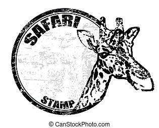 Safari stamp - Grunge rubber stamp with giraffe shape and...
