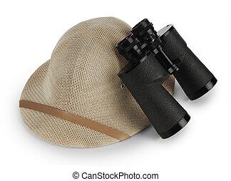 safari pith helmet and binoculars isolated on white...