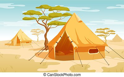 Safari tent in the desert savannah