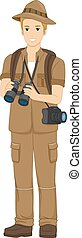 Safari Tourist - Illustration of a Man Holding a Tourist in...