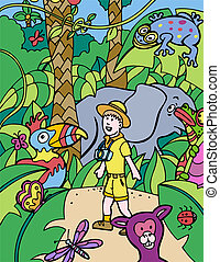 safari trip cartoon in a hand drawn style.