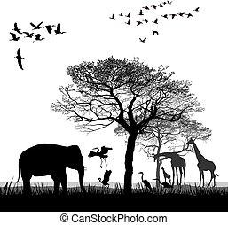 Safari with giraffes, herons, geese and the elephant.eps