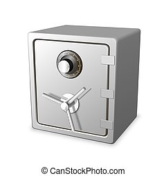 Safe 3d icon, Realistic object on white background, Vector illustration