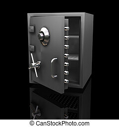 Safe - 3D render of a safe on a black background