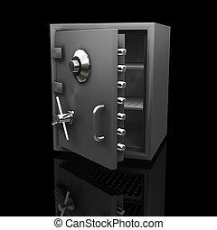 3D render of a safe on a black background