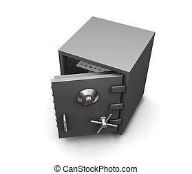 Safe - 3D render of a safe with the door open isolated on...