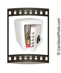 Safe and crown. Money saving concept. 3d render. Film strip.