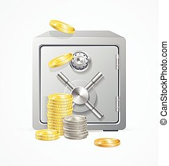 Safe and Money. Different Coins. Vector