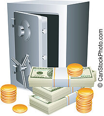 Opened safe, packs of money and golden coins.