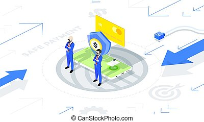 Safe and protected mobile payment online. Isometric conceptual vector illustration