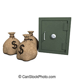 Safe and Sacks of Money