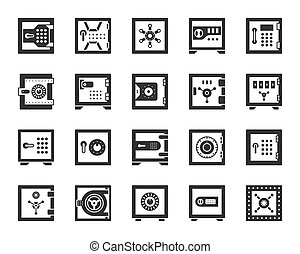Safe bank cell black silhouette icons vector set - Safe...