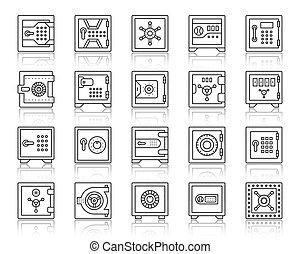 Safe bank cell simple black line icons vector set - Safe...