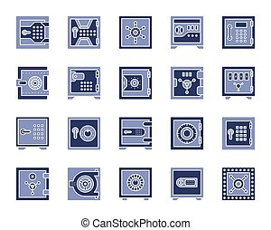 Safe bank cell simple color flat icons vector set - Safe...