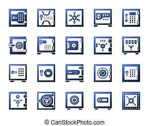 Safe bank cell simple gradient icons vector set - Safe...