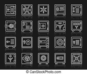 Safe bank cell simple white line icons vector set - Safe...