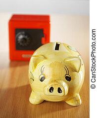 safe box and piggy bank