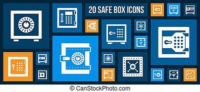 Safe box bank cell keep money icon vector set - Safe...