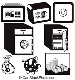 safe box black icons