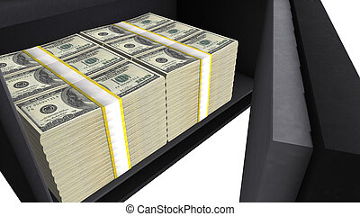 Safe box full of US dollar stacks, private financial savings, money security