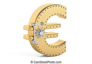 safe box in shape of symbol euro, 3D rendering