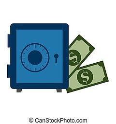 safe box with bills dollars money icon
