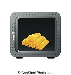 safe box with gold bullion vector illustration design