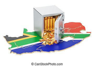 Safe box with golden coins on the map of South Africa, 3D rendering
