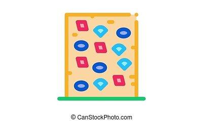 safe climbing wall Icon Animation. color safe climbing wall animated icon on white background