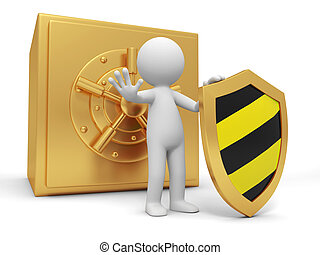 safe - A 3d man with a shield stopping the people, back to...