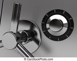 safe closeup - 3d illustration of steel safe door closeup