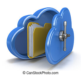 Safe cloud computing concept and a file folder