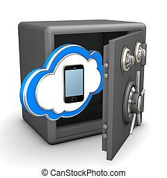Safe Cloud Smartphone - Opened safe with blue cloud and...
