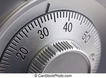 Safe combination dial - Close-up of a combination dial on a ...