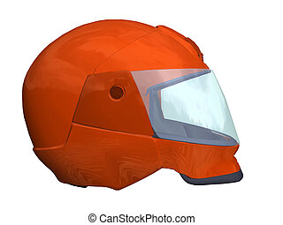 safe - Computer image, red helmet 3D, isolated white...