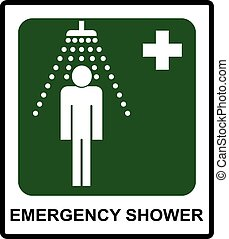 Safe condition sign, Emergency shower symbol Vector sticker...