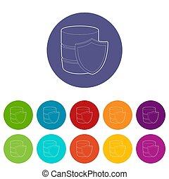 Safe database icon, outline style - Safe database icon....